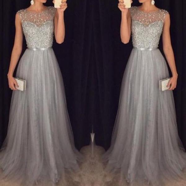 Silver Beaded Tulle Round Neckline Floor Length Prom Dress Formal Party Dress