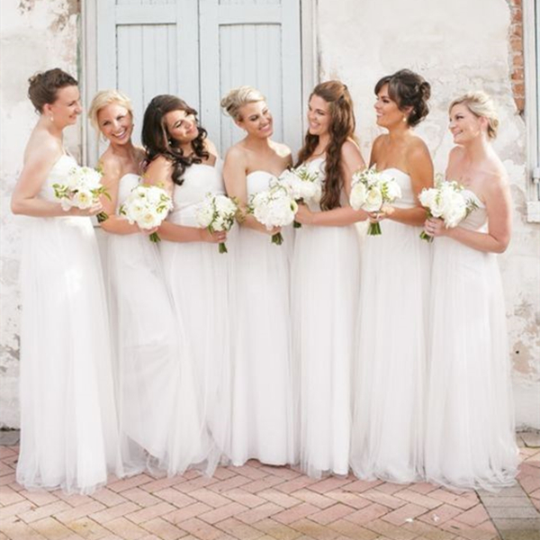 Flluring White Tulle Sweetheart Neckline Long Bridesmaid Dress Wedding Party Dress White Prom Dress