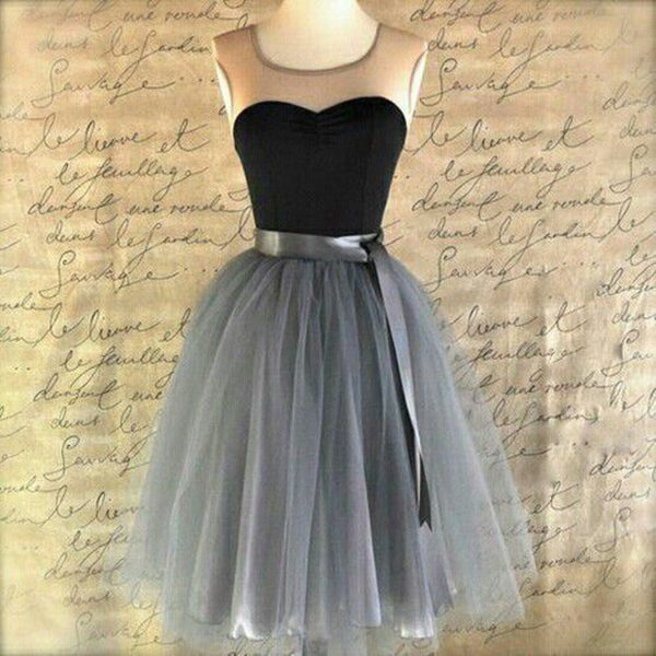 Custom Made Grey Ball Gown Round Neckline Mini Bridesmaid Dress Homecoming Dress