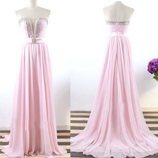 Custom made Beaded Bodice Pink Sweetheart Neckline Sweep Train Prom Dress Formal Dress Wedding Party Dress